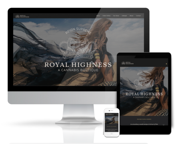 Branded e-commerce point-of-sale integration for Royal Highness Luxury Cannabis Boutique in Palm Desert